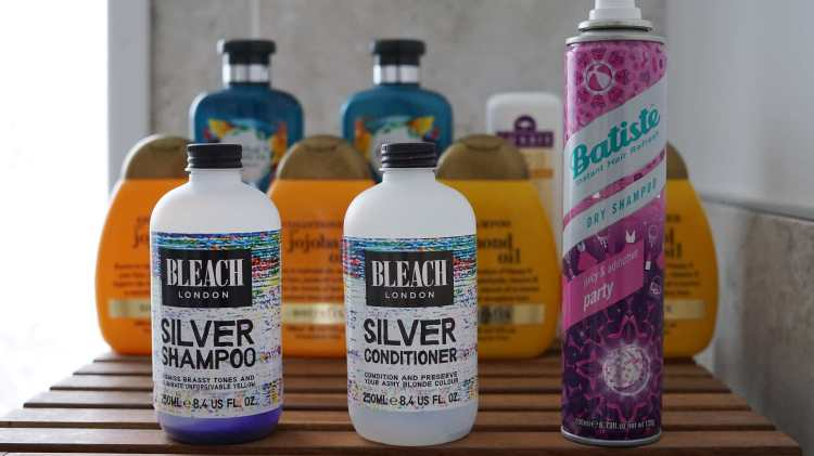 2018 EMPTIES HAIRCARE BLEACH LONDON SILVER SHAMPOO BATIST PARTY DRY SHAMPOO-min