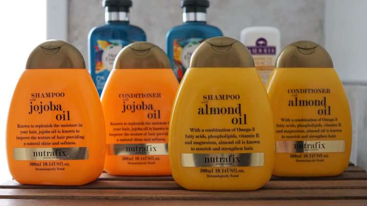 2018 EMPTIES HAIRCARE NUTRAFIX SHAMPOO AND CONDITIONER ALMOND OIL JOJOBA-min