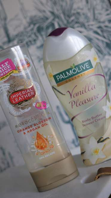 IMPERIAL LEATHER ARGAN OIL VANILLA PLEASURE PALMOLIVE BATH AND BODY EMPTIES -min